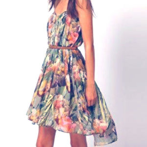 Ted Baker Tulip Print Strapless Dress 3 US 8 AS IS